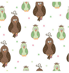 Seamless pattern with cute cartoon birds vector