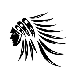 Head of indian chief black silhouette for your vector image