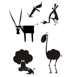 Original art animal silhouettes vector