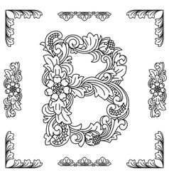 Letter b floral ornament eps10 vector