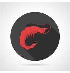 Red prawn black round icon vector