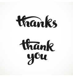 Thank you and thanks calligraphic inscription for vector