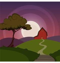 Night farm landscape vector