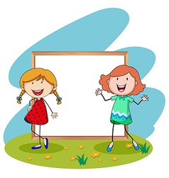 Girls standing in front of white board vector