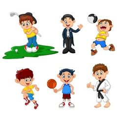 many children doing sport cartoon vector image