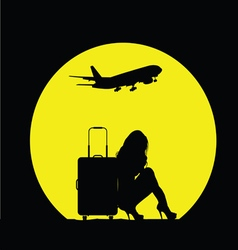 Girl with travel bag and airplane vector