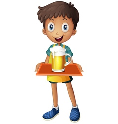 A young boy holding a tray with a mug of beer vector image vector image