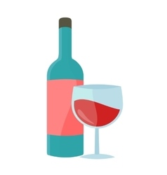 Bottle with Alcohol in Flat Style Design vector image