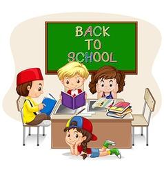 Children doing school work in classroom vector