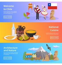 Chile flat horizontal banners vector