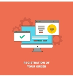 Concept online shopping registration of order vector