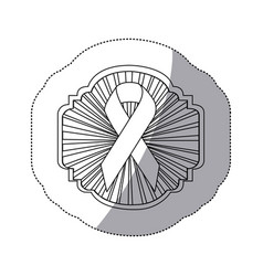 Contour emblem ornamental with breast cancer vector