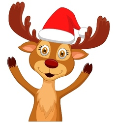 Cute cartoon deer waving vector image vector image
