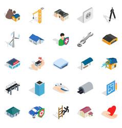 Fabric icons set isometric style vector