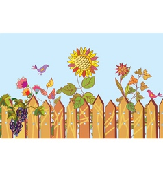 fence and flowers vector image