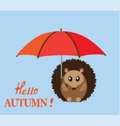 hedgehog with umbrella vector image
