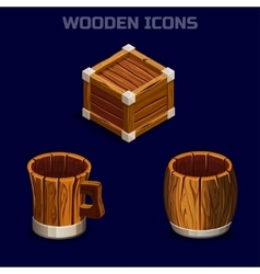 Isometric cartoon wooden icons for game vector
