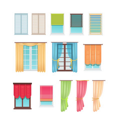 Luxurious curtains and practical jalousies set vector