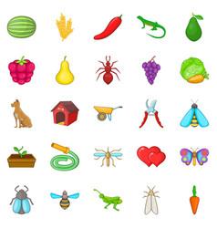 Nursery garden icons set cartoon style vector