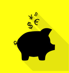 Piggy bank sign with the currencies black icon vector