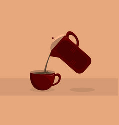 pouring a fresh coffee from pot to cup vector image vector image