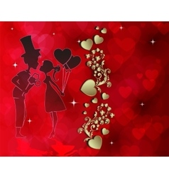 Red design with silhouette of lovers vector image