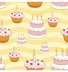 Seamless cakes background vector image vector image