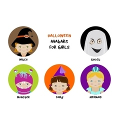 Set of halloween avatars for girls vector image