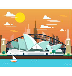 Sydney opera house and bridge for traveling vector