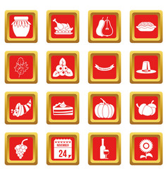 Thanksgiving icons set red vector