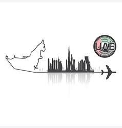 United arab emirate skyline buildings silhouette vector