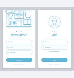 user account create and user login pages vector image