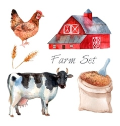 Watercolor concept farm set vector
