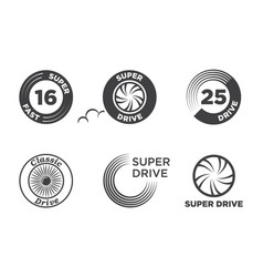 wheel car icon set template logo vector image vector image