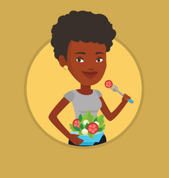 Woman eating healthy vegetable salad vector