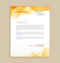 Yellow low poly business letterhead vector