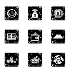 Bank icons set grunge style vector