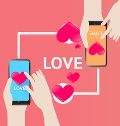 Smartphone send heart for love in valentine day vector