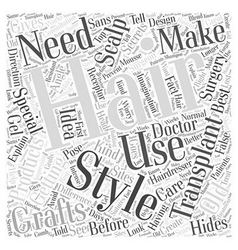 Styling secrets of hair transplant word cloud vector