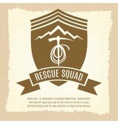 Rescue squad retro badge design vector