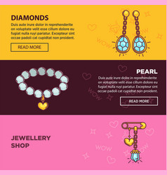 Jewelry online shop web banners flat vector