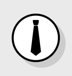 Tie sign   flat black icon in vector