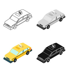 Taxi car icon in cartoon style isolated on white vector