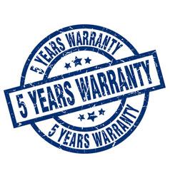 5 years warranty blue round grunge stamp vector