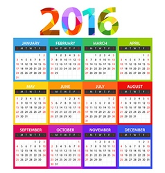 2016 year color calendar template vector image vector image