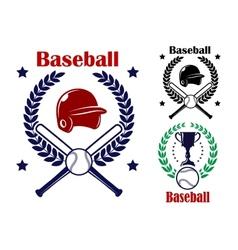 Three Baseball emblems or badges vector image