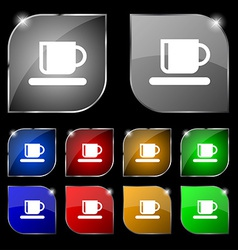 Coffee cup icon sign set of ten colorful buttons vector