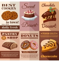 Pastry poster set vector