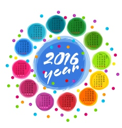 calendar template with colorful circles for 2016 vector image