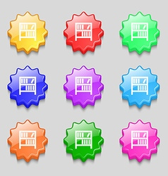 Bookshelf icon sign symbols on nine wavy colourful vector